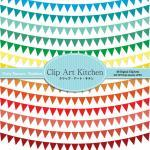 Party Banners Clip Art, Rainbow col..