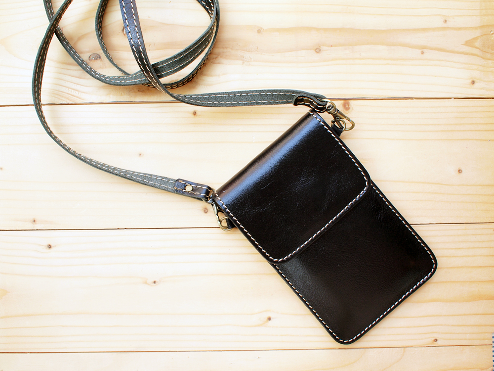 Iphone Case Leather Bag With Strap Black
