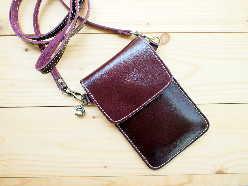 Iphone Case Leather Bag With Strap Purple