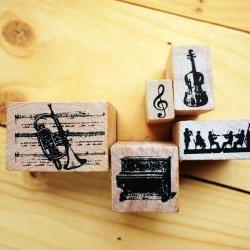 Wooden Rubber Stamp Box, Music instrumental set